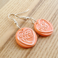 Sherbet Orange Coloured Love Heart Earrings