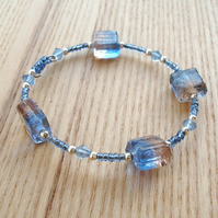Pale Blue Glass Bead Bracelet