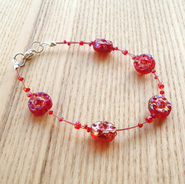 Red Shimmer Glass Bead Bracelet