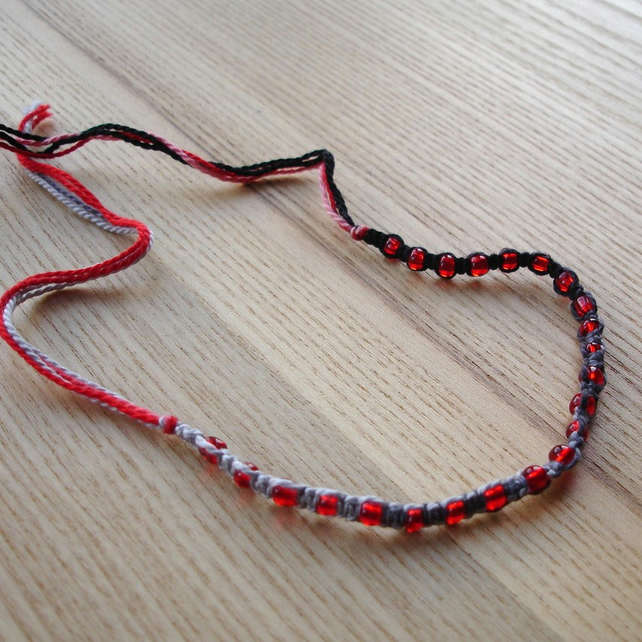 Red, Grey and Black Macrame Bracelet