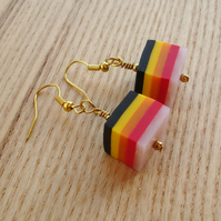 Stripe FIMO Cube Bead Earrings