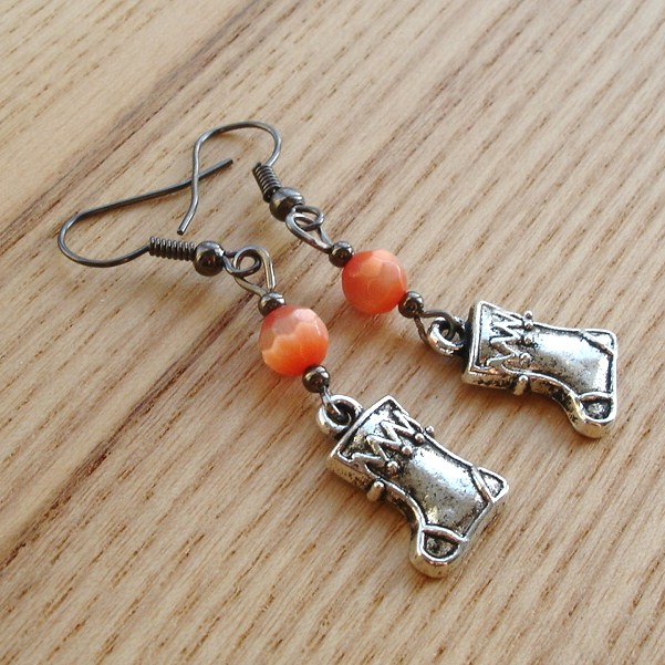 Tibetan Silver Stocking Charm and Glass Bead Earrings