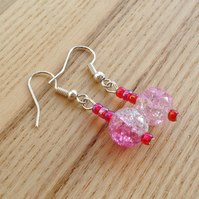 Pink Crackle Glass Bead Earrings