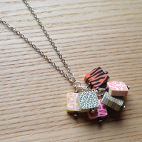 Animal Print Polymer Clay Bead Cluster Pendant