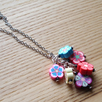 Flower Polymer Clay Bead Cluster Pendant