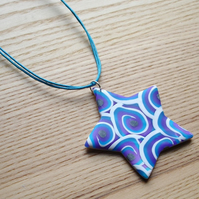 Blue Skies Star FIMO Polymer Clay Pendant
