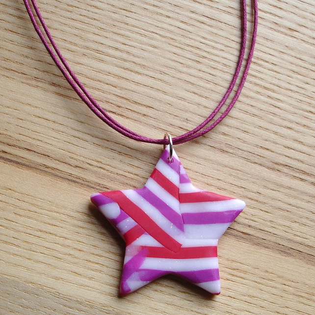 Raspberry Shimmer Star FIMO Polymer Clay Pendant
