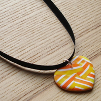 Citrus Patchwork Heart FIMO Polymer Clay Pendant