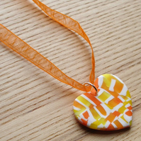 Citrus Fizz Heart FIMO Polymer Clay Pendant