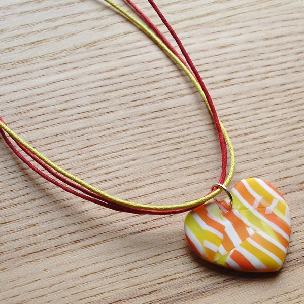 Citrus Patch Heart FIMO Polymer Clay Pendant