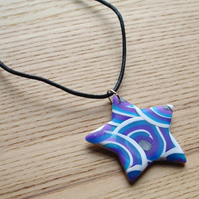 Blue Curl Star FIMO Polymer Clay Pendant