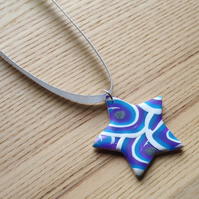 Funky Blue Star FIMO Polymer Clay Pendant