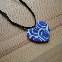 Blue Swirl Heart FIMO Polymer Clay Pendant