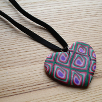 Red and Green Heart FIMO Polymer Clay Pendant