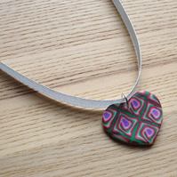 Red and Green Squares Heart FIMO Polymer Clay Pendant