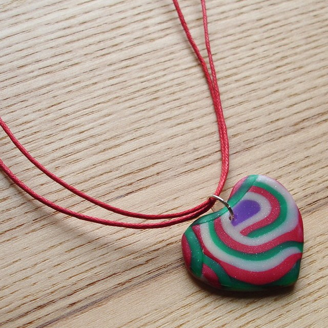 Red and Green Curl Heart FIMO Polymer Clay Pendant