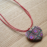 Red and Green Shimmer Heart FIMO Polymer Clay Pendant