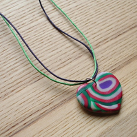 Red and Green Shine Heart FIMO Polymer Clay Pendant