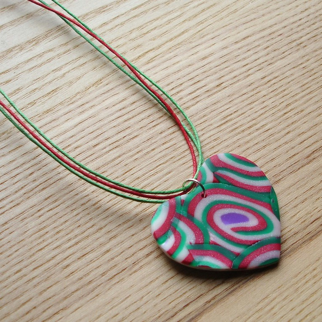 Red and Green Swirl Heart FIMO Polymer Clay Pendant