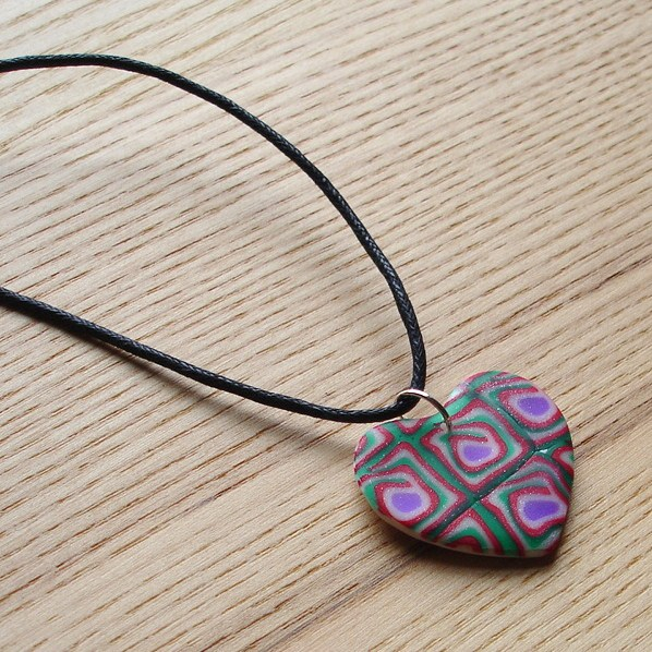 Funky Red and Green Heart FIMO Polymer Clay Pendant