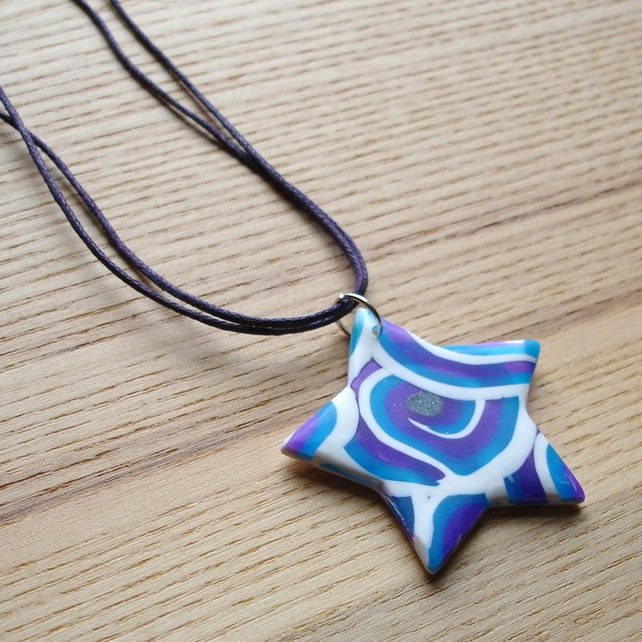 Blue Swirl Star FIMO Polymer Clay Pendant