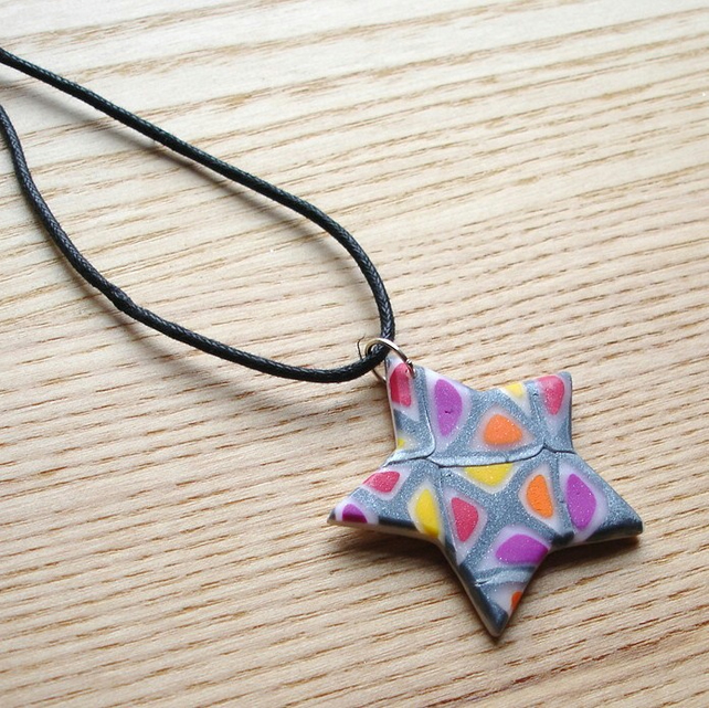 Silver Windows Star FIMO Polymer Clay Pendant