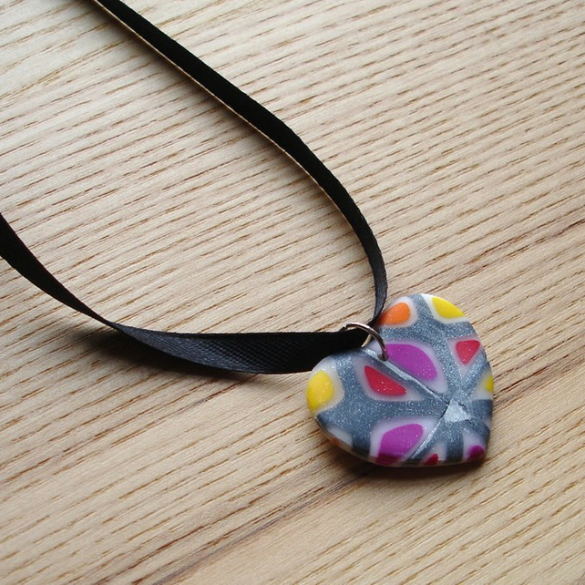 Mini Funky Heart FIMO Polymer Clay Pendant