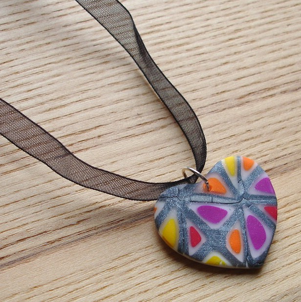 Funky Windows Heart FIMO Polymer Clay Pendant
