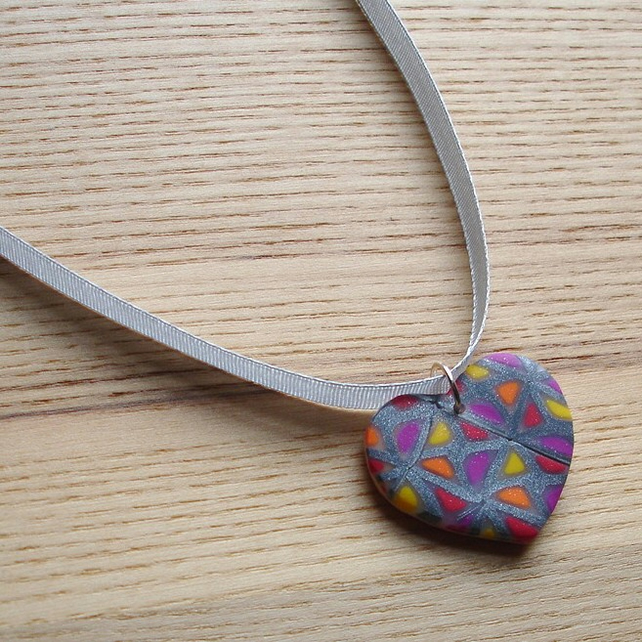 Funky Squares Heart FIMO Polymer Clay Pendant