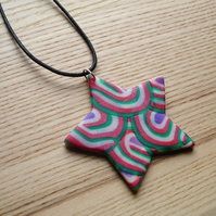 Red and Green Star FIMO Polymer Clay Pendant Necklace Jewellery