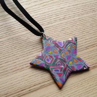 Patchwork Star FIMO Polymer Clay Pendant