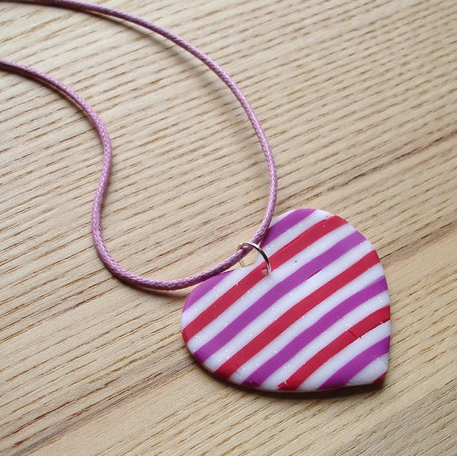 Raspberry Stripe Heart FIMO Polymer Clay Pendant