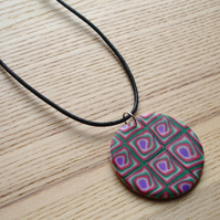 Red and Green Disc FIMO Polymer Clay Pendant