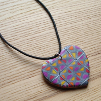 Funky Squares Heart FIMO Polymer Clay Pendant Necklace Jewellery