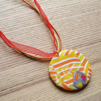 Citrus Sherbet Disc FIMO Polymer Clay Pendant