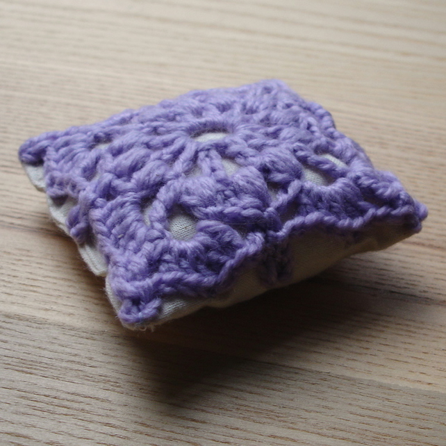 Crochet Pin Cushion in Lilac