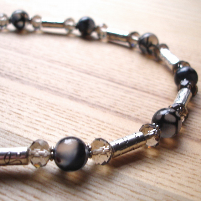 Grey and Silver Sparkle Bead Necklace