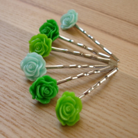 Green Rose Bobbie Pin Hair Slides