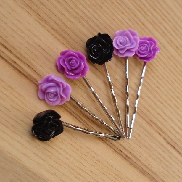 Purple and Black Rose Bobbie Pin Hair Slides