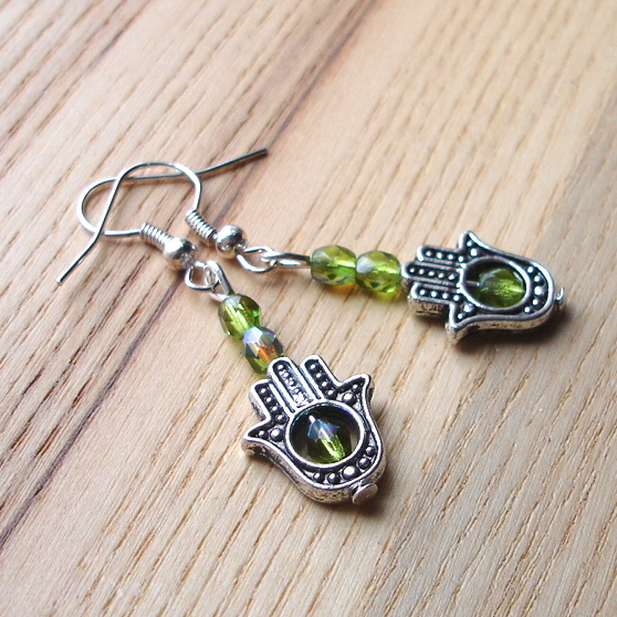 Green Hand Charm Earrings