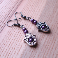 Purple Hand Charm Earrings