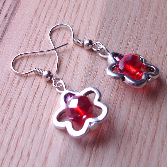 Red Flower Charm Earrings