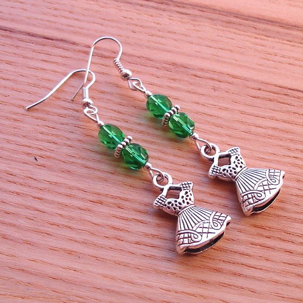 Green Dress Charm Bead Earrings