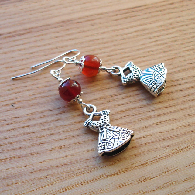Agate Dress Charm Bead Earrings