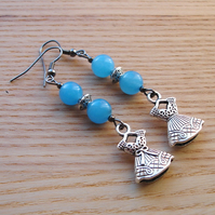Blue Dress Charm Bead Earrings