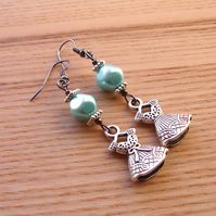 Turquoise Dress Charm Bead Earrings