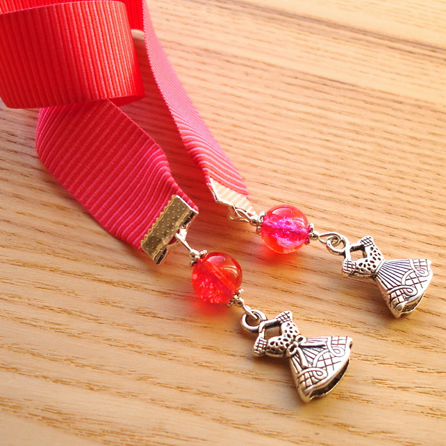 Pink Dress Charm Bookmark