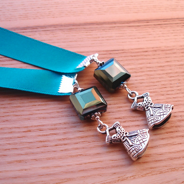 Teal Dress Charm Bookmark