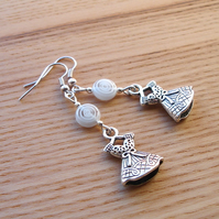 White Dress Charm Bead Earrings