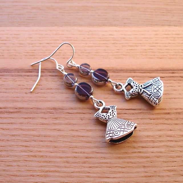Purple and Grey Dress Charm Bead Earrings